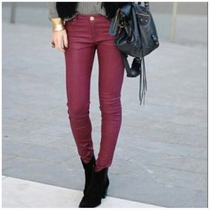 CAbi Bordeaux skinny jeans, size 4